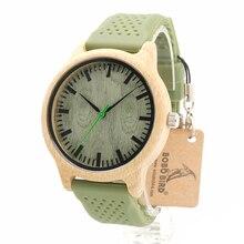 Bamboo Wooden Watch Wood Dial Soft Silicone Green Band Quartz Watches for Men Women Bobo Bird Brand Designer Christmas Gift