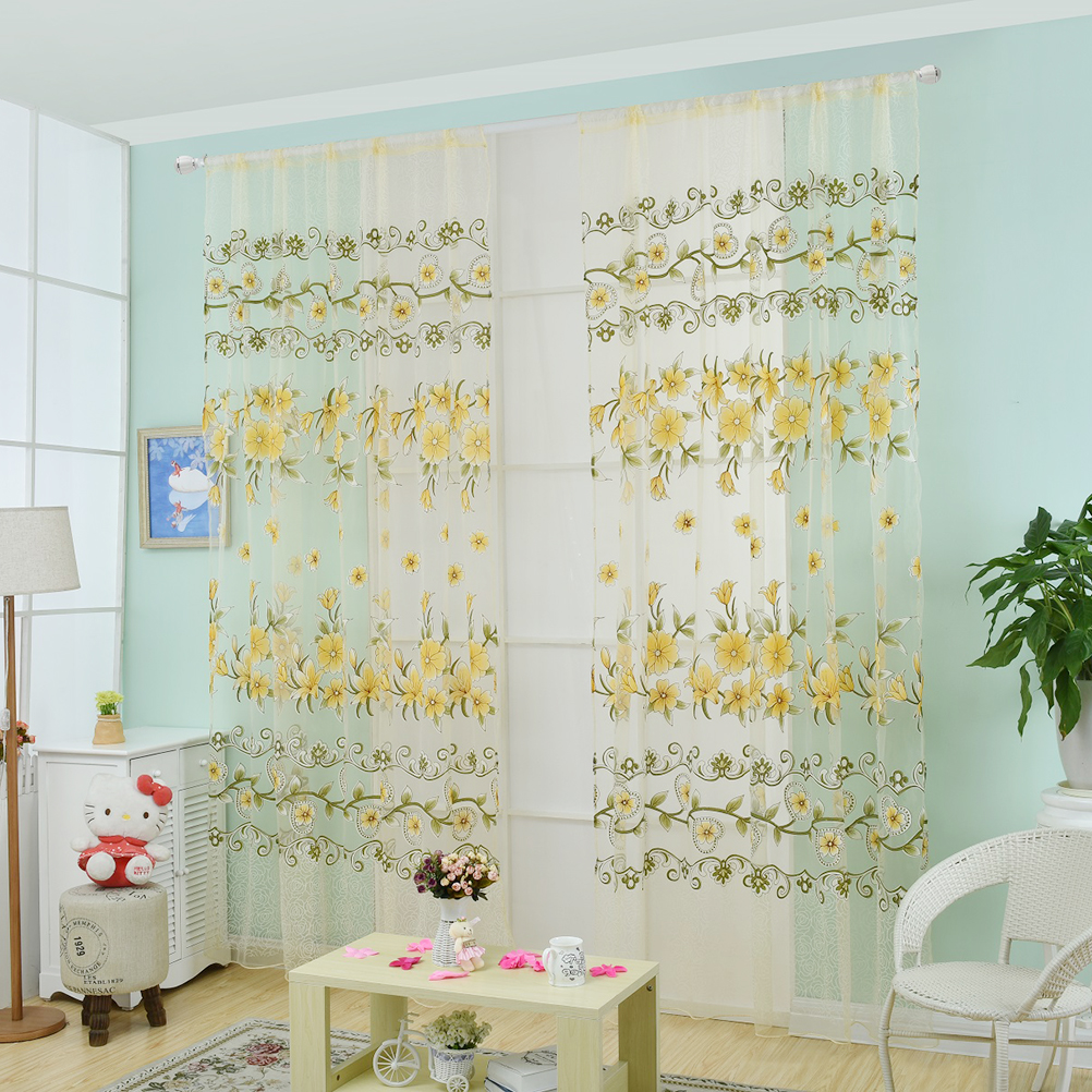 de diseo de moda moderno transparente tulle cortinas cortinas saln dormitorio de los nios colorido amarillo