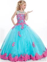Blue + red Lace Appliques A-line Scoop Neck Flower Girl Dresses Floor-Length Show dress ball gown custom made
