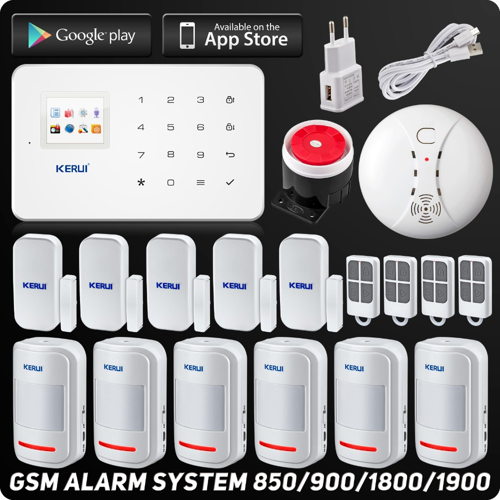 Englisch Russische Kerui Wireless GSM Home Security Alarm System ISO Android APP Sicherheit Alarm System Wireless Rauchmelder
