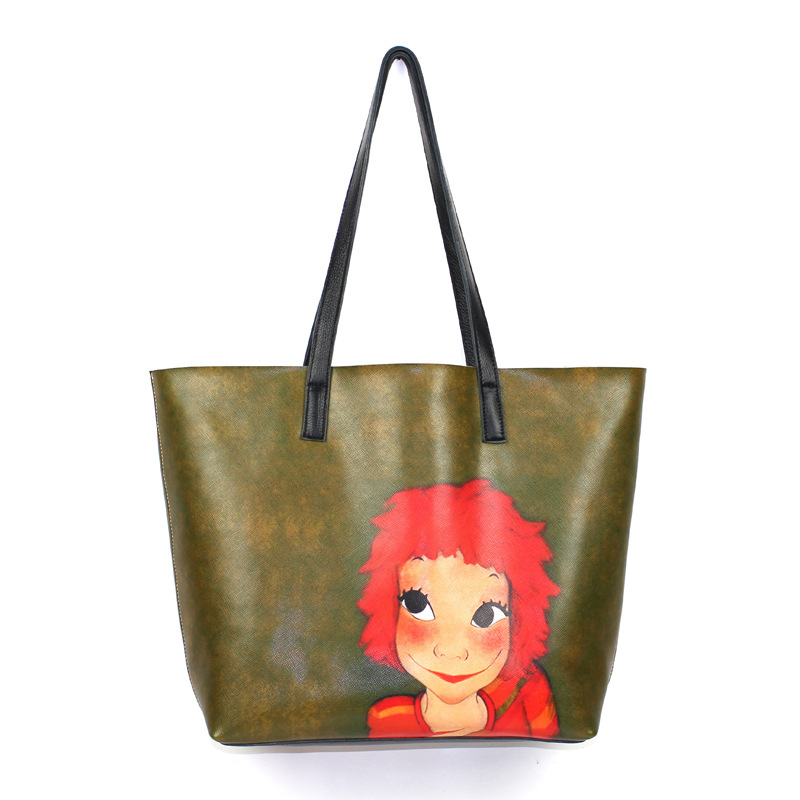 2017 Fashion Women Lady Genuine Leather Large Cartoon Printing Handbags Designer Shopper Shoulder Bags Casual Tote Composite Bag 2017 new classic casual patchwork large tote lady split leather handbags popular women fashion shoulder bags bolsas qn029