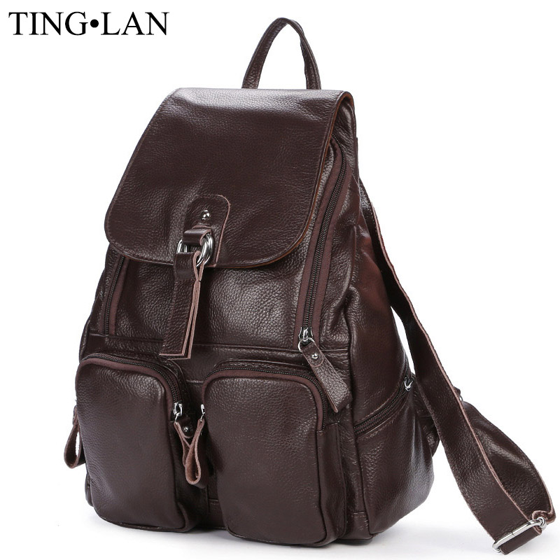 Women Genuine Leather Backpacks Brand Ladies Fashion Backpacks For Teenagers Girls School Bags <font><b>Real</b></font> Leather Travel Bags Mochila