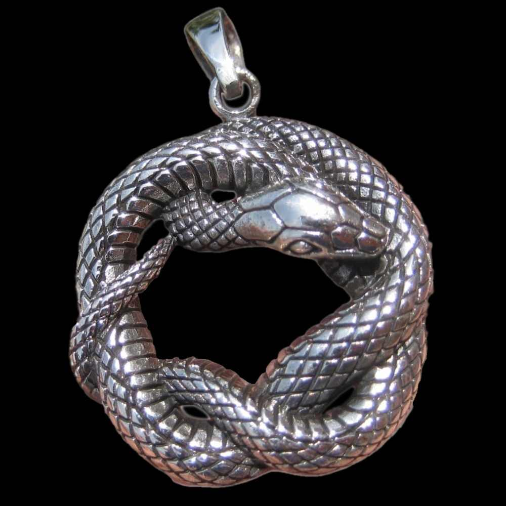 LARGE SNAKE PENDANT 925 Sterling silver huge charm druid pagan wiccan coiled infinity figure eight serpent kundalini shakti