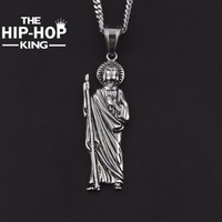 High Quality Hip Hop Jesus Pendant Necklace Vintage Gold Silver Stainless Steel Crutch Jesus Jewelry With