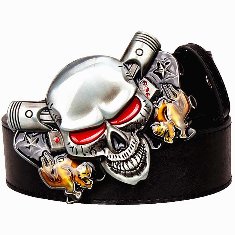 Vahşi abartılı tarzı kemer Joker Poker metal tokalı kemerler şeytan palyaço kafatası erkek deri kemer hip hop kemer