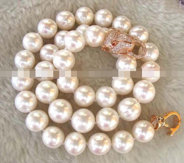Free Shipping bjc 0001943 freshwater pearl white AA round leopard necklace 18  ()Free Shipping bjc 0001943 freshwater pearl white AA round leopard necklace 18  ()