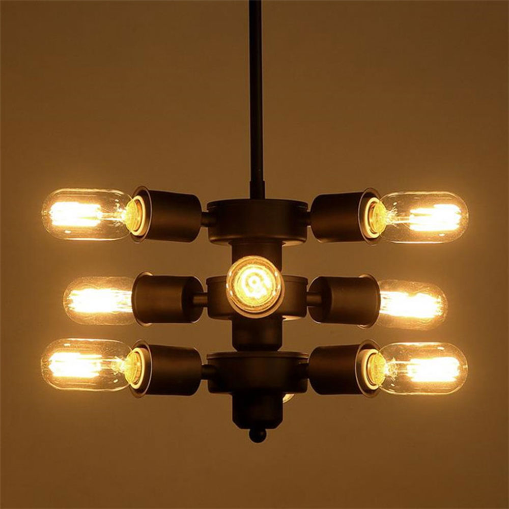 AC100-240V 9pcs E27 industrial vintage hanging chandelier Classical Nostalgic Punk  retro Lights Vintage DIY Adjustable fixture high quality ac 360 415v 16a ie 0140 4p e free hanging industrial plug red white