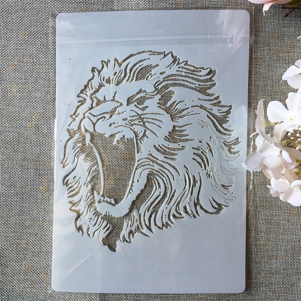 A4 Lion DIY Layering Stencils Painting Scrapbook Coloring Embossing Album Decorative Paper Card Template