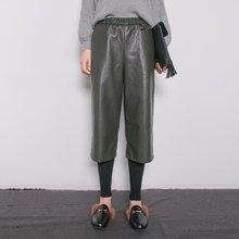 New Trendy Fashion Women's Winter Straight Wide Leg Trousers Elastic Waist Legging inside Outside PU Calf Length Pant
