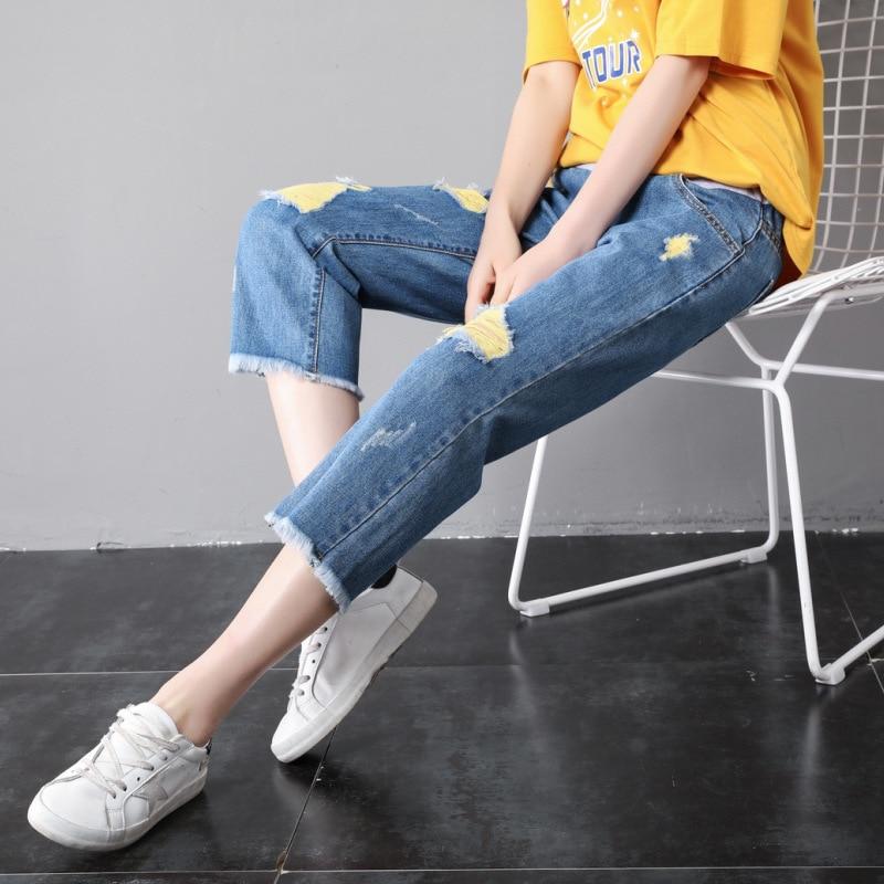 verao finas calcas de algodao mulheres gravidas calcas jeans maternidade buraco moda jeans hight cintura gravidez
