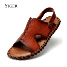YIGER NEW Men's Sandals shoes Genuine Leather Summer Casual Beach shoes Chinese style Men's Sandals Leather Summer sandals  0038