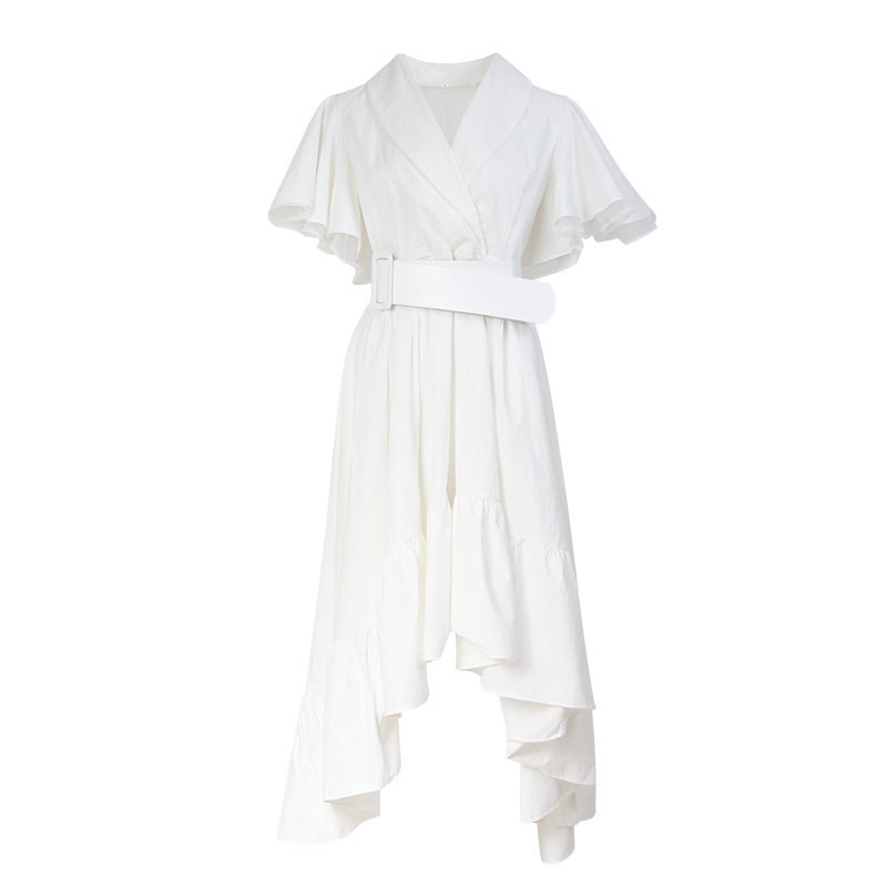 TWOTWINSTYLE Party Dresses Female V Neck Cloak Sleeve High Waist With Sashes Asymmetrical Long Dress For Women 19 Spring 7