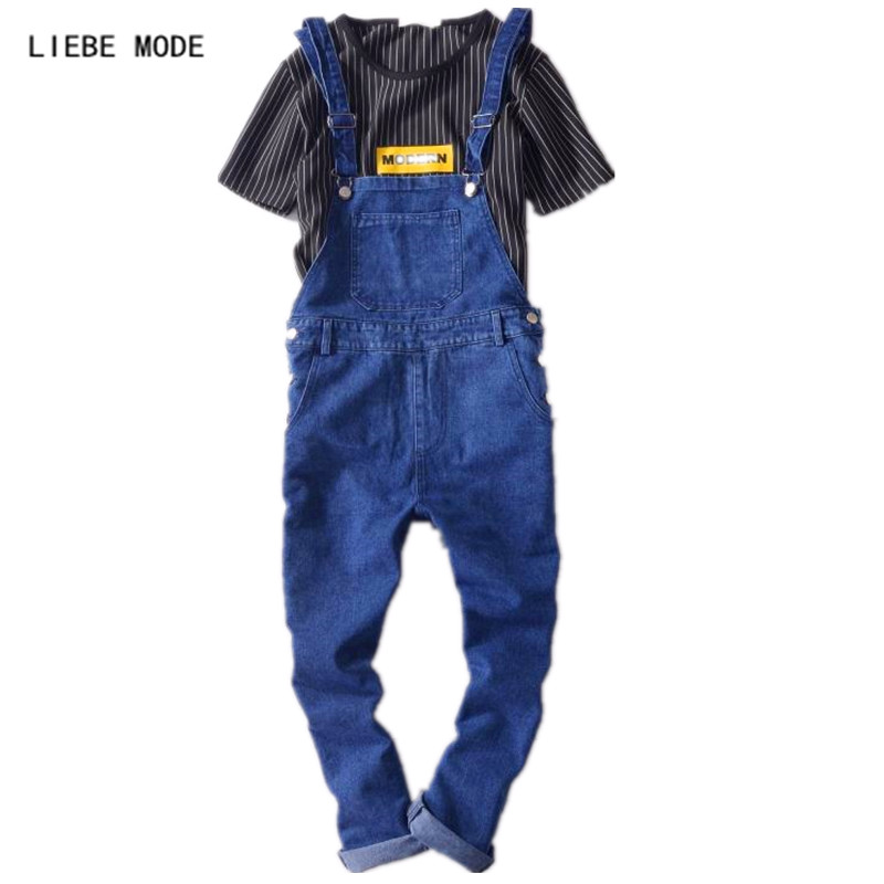 Mens Blue Denim Overalls Jumpsuit For Men Bib Overalls Jeans Jumpsuit denim overalls male suspenders front pockets men s ripped jeans casual hole blue bib jeans boyfriend jeans jumpsuit or04