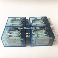 10PCS MY4NJ DC 24V Coil 4NO 4NC Green LED Indicator Power Relay DIN Rail 14 Pin