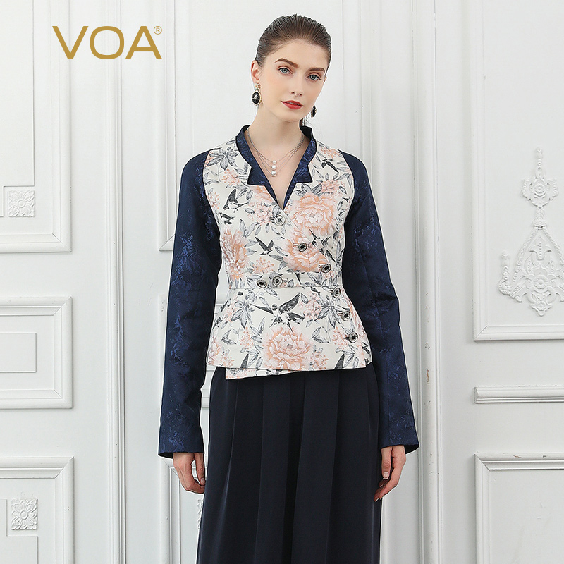 VOA Silk Jacquard Women Jacket Tunic Coat Vintage Elegant Ladies Diamonds Chinese Style Fall Long Sleeve Outerwear Chifave W323