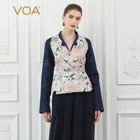 Voa шёлковый жаккардовая для женщин куртка пальто туника Винтаж элегантные дамы алмазы китайский стиль Осень Верхняя одежда с длинными рука