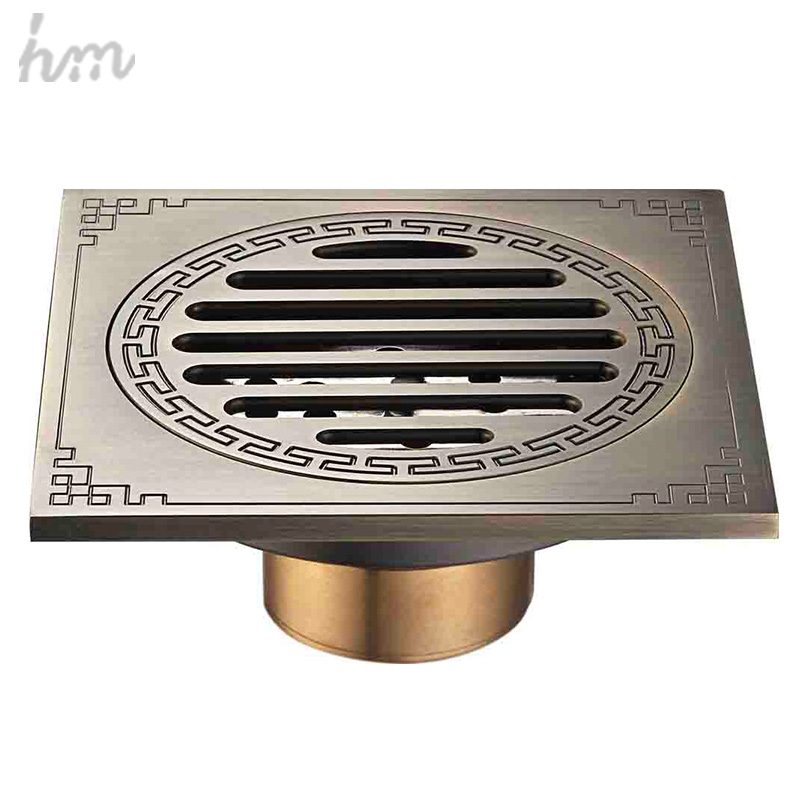 hm Waste Antique Floor Drain Brass Bathroom Accessory Euro Linear Shower Wire Strainer  Carved Cover Drains Drain Strainers drains 12 12cm antique brass shower floor drain bathroom deodorant euro square floor drain strainer cover grate waste hj 8702s