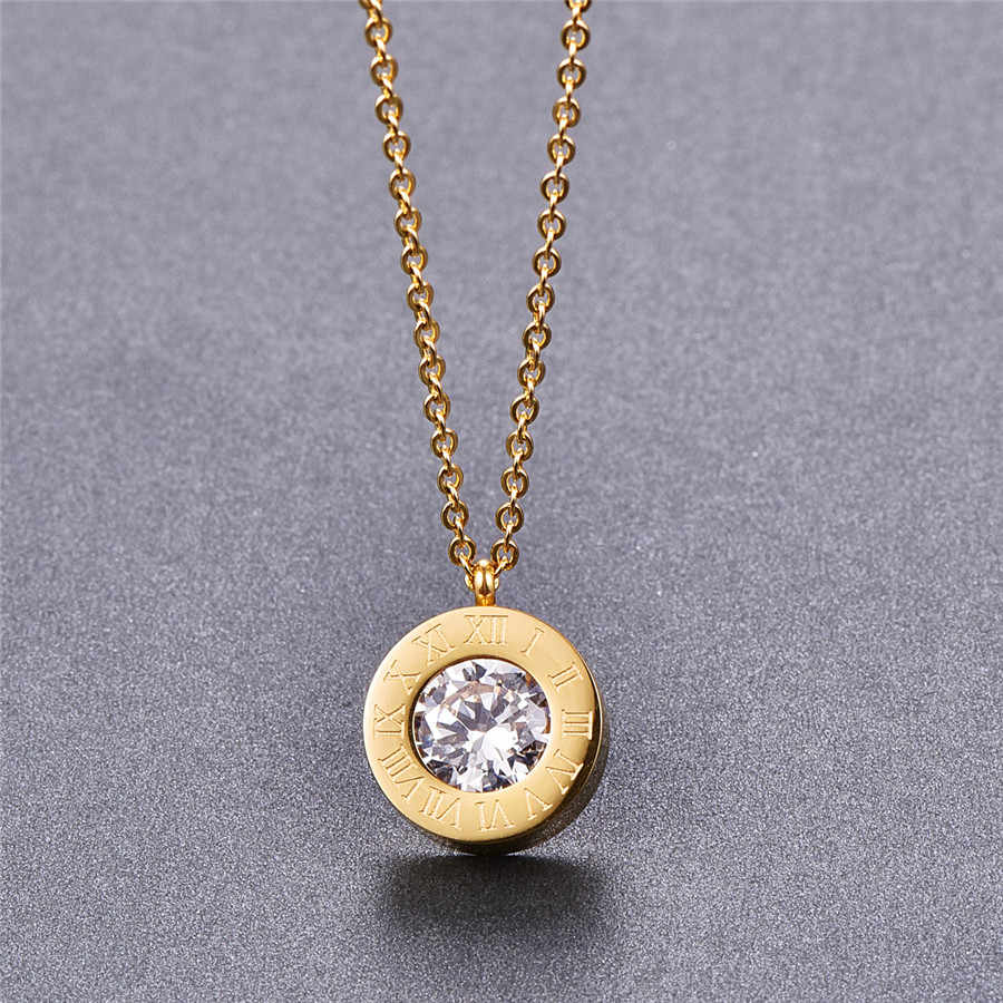 Martick Vintage Necklace 316L Stainless Steel Change Drill Pendant Link Chain Necklace Fashion Jewelry For Women P9