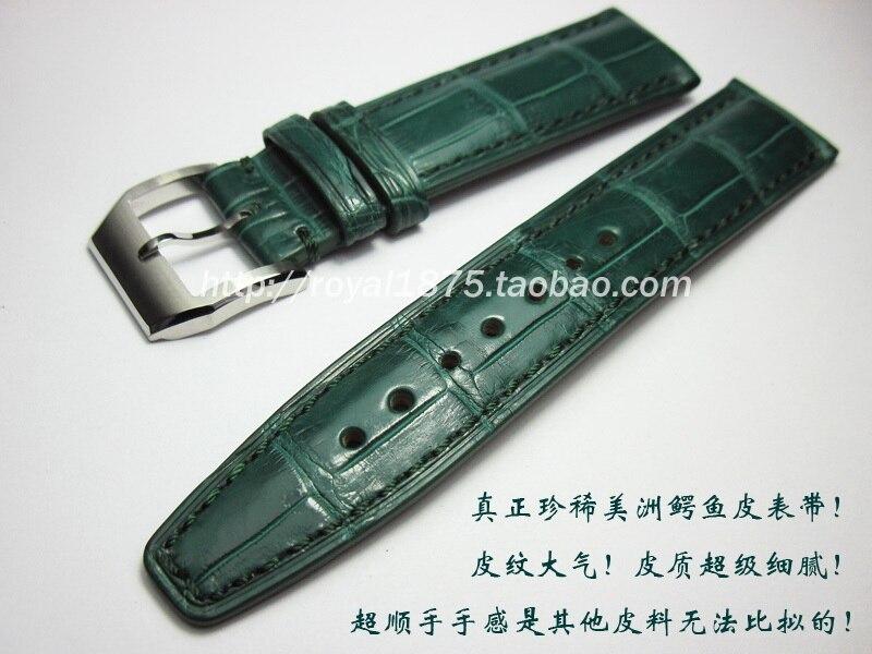 20mm fait à la main véritable peau de crocodile bracelets de montre bleu foncé jaune vert VINTAGE bracelet de montre bracelet de montre sangles ceinture pour homme marque montre