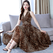 Summer Women Slim Bohemian Wind Sleeveless V Collar Beach Style Leopard Chiffon Dress