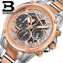 Suisse hommes montre de luxe de marque horloge BINGER montres À Quartz complet en acier inoxydable Chronographe Diver glowwatch B-6008-3