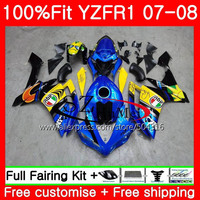 Injection Bodys For YAMAHA YZF R1 YZF 1000 R 1 07 08 64MC.0 YZF1000 YZFR1 07 08 YZF 1000 YZF R1 2007 2008 Fairings Graffiti Blue