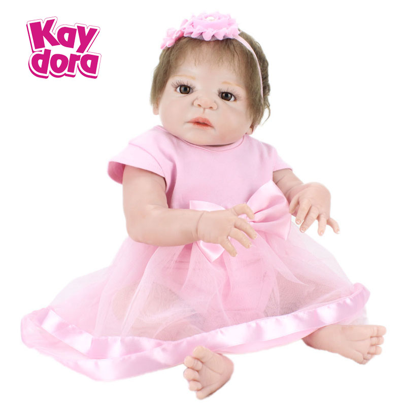 все цены на 55cm Realistic Doll Full Silicone Reborn Babies Handmade Pink Angel girl Gift Toys For Kids 22