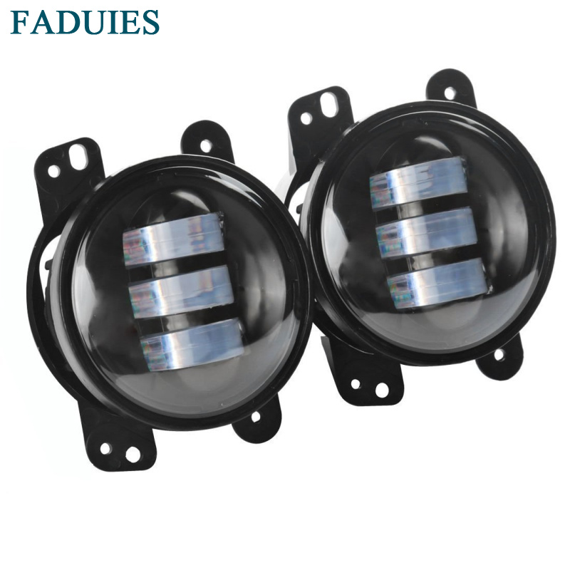 FADUIES 1 Pair 4 Round LED Fog Lights Headlights 30W Front Bumper LED Fog Light Assembly For jeep Wrangler CJ TJ JK 07-15 funlight 30w 4 inch auto round led fog light with angle eye for jeep wrangler jk 2007 15