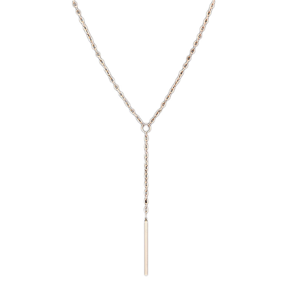 Beautiful  Handsome Store High Quality Simple Elegant Style Alloy Rod Model Necklace Long Loops Type Women Plating Clavicle Necklace