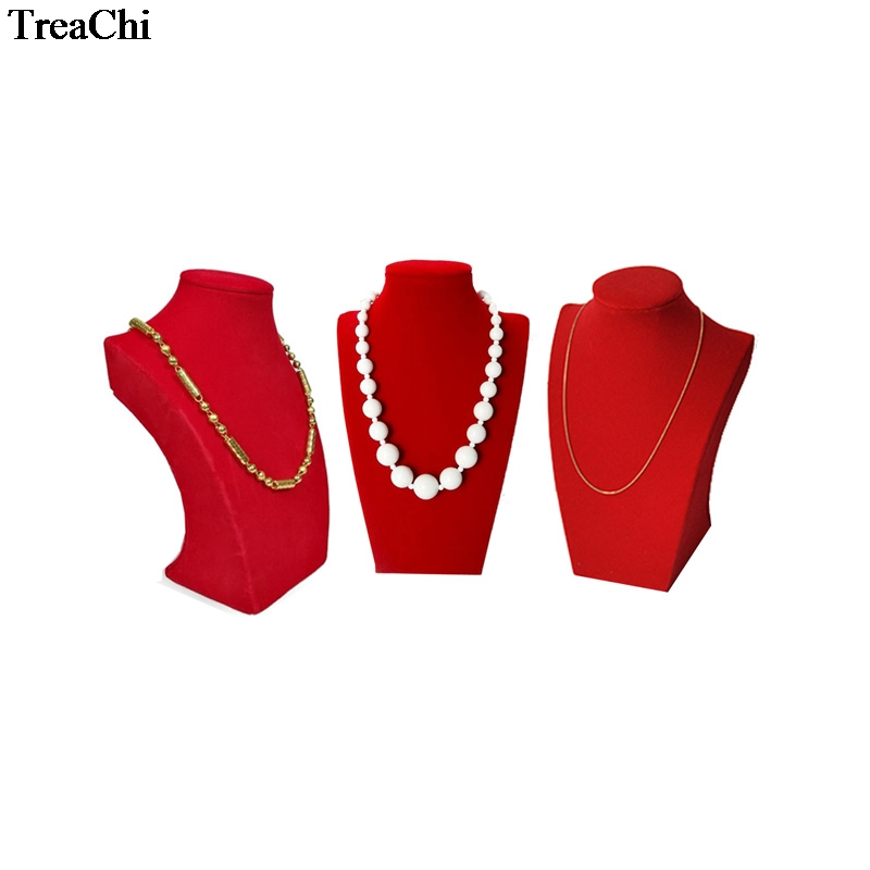 Wholesale 3Pcs Red Velvet Jewelry Display Bust Wooden Necklace Pendant Organizer Storage Pear Bead Chain Mannequin