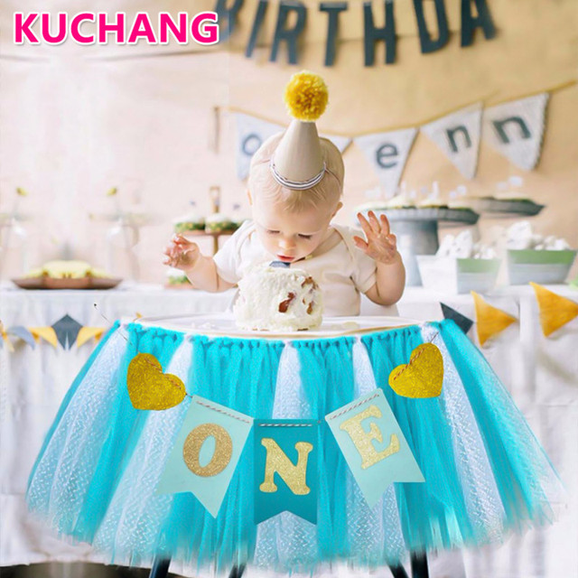 100cm Tutu Tulle Table Skirts Baby Shower 1St Birthday Party Wedding Decoration For High Chair Home