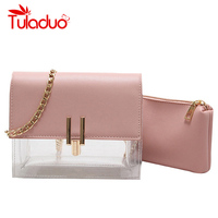 Women Transparent Bag Clear PVC Jelly Small Tote Messenger Bags Laser Holographic Shoulder Bags Female Lady