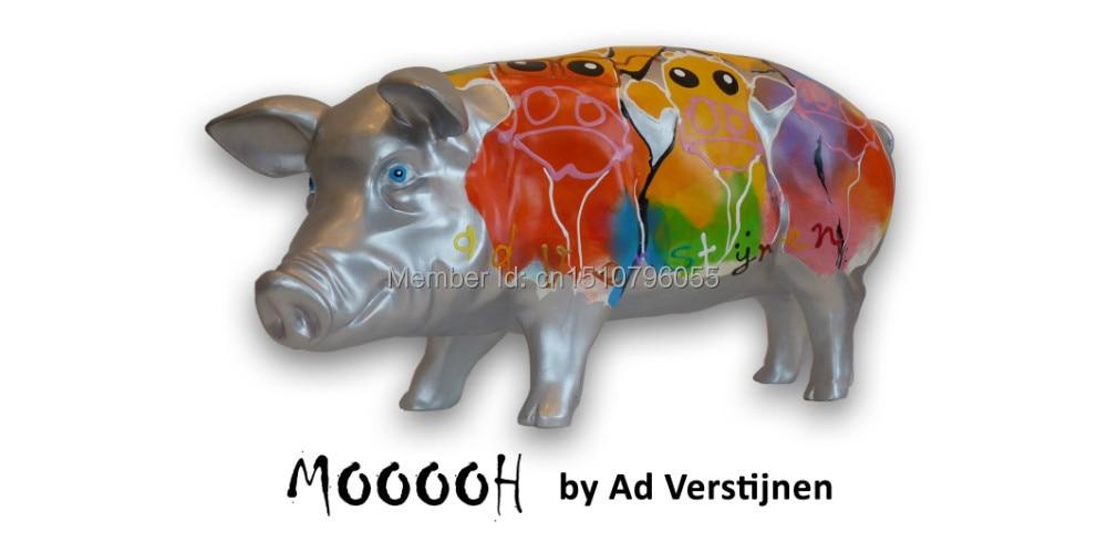 "Polyresin Art Pigs Collectible pigs Umělecká prasata sochy ""Mooooh"""