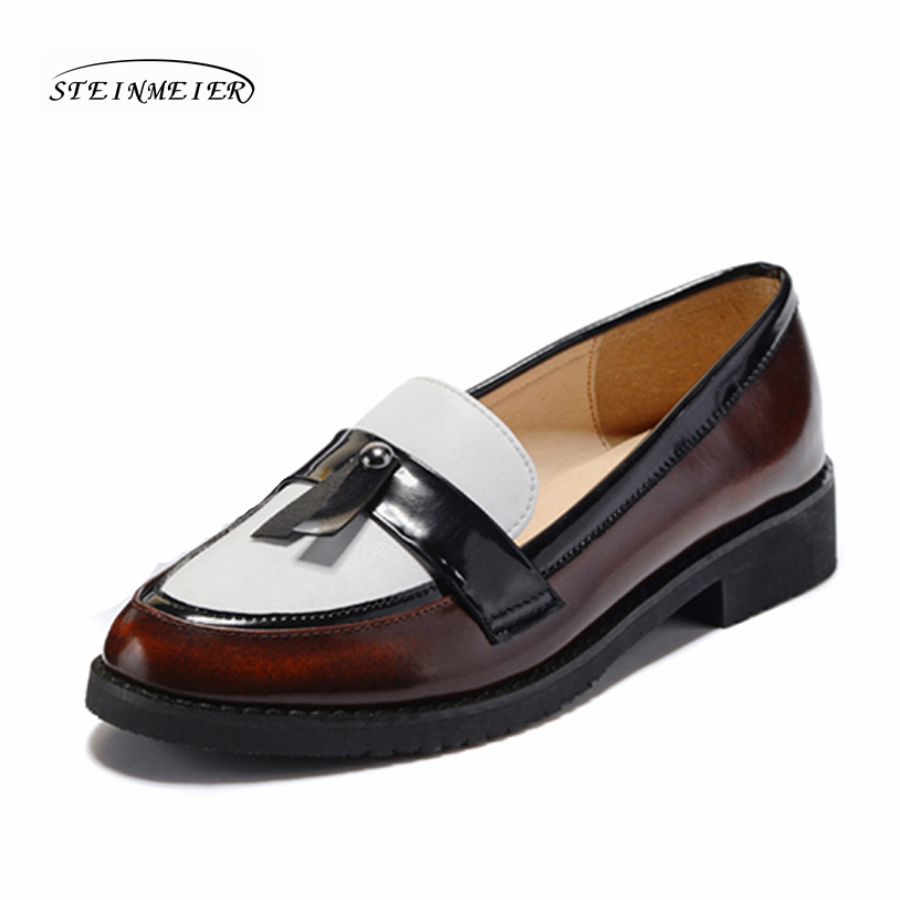 Women flats oxford shoes genuine leather flat casual brown spring summer loafers sneakers shoes for women