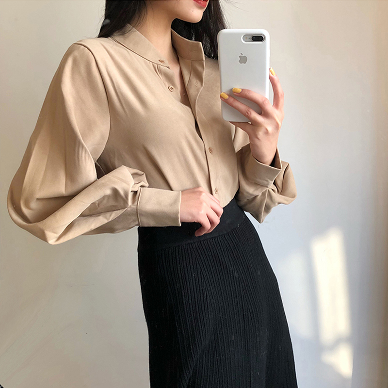 Vintage Stand Collar Lantern Sleeve   Blouse     Shirt   Women Single Breasted Solid Retro Tops   Shirts   femme chemise 2018