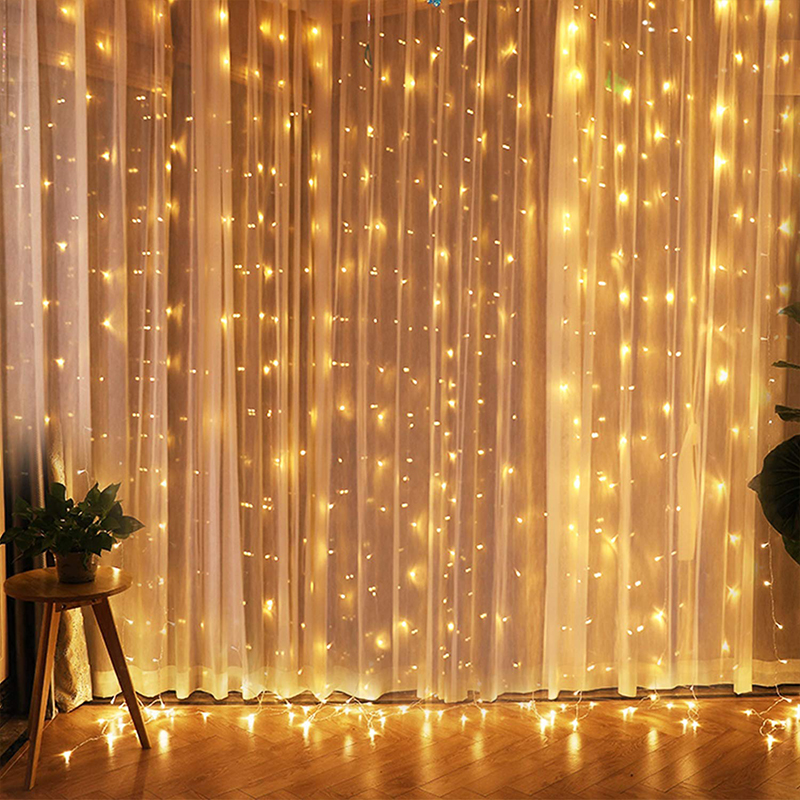 ROPIO LED Twinkle Star 3*3M LED Window Curtain String Light Wedding Party Home Garden Bedroom Outdoor Indoor Wall Decorations