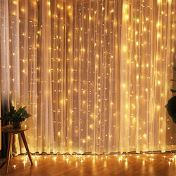 Ropio led twinkle estrela 3*3 m led cortina de janela luz corda festa casamento casa jardim quarto decorações parede interior ao ar livre