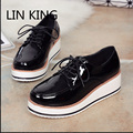 LIN KING New Thick Sole Women Platform Shoes British Style Solid Lace Up Wedge Casual Shoes Fashion Pu  Height Increase Shoes