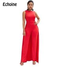 Echoine moda seksi Rompers bayan tulum o-boyun topraklar kırmızı renk rahat kolsuz uzun pantolon yeni gelenler Bodycon kadınlar
