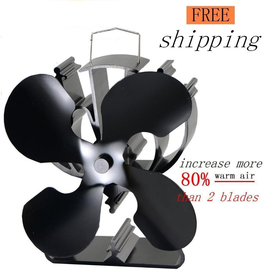4 Blades Heat Powered Eco Stove Fan(Black) increase more 80% warm air than  2 blade stove fan for wood/log burner /fireplace - Wood Stove Blacking Reviews - Online Shopping Wood Stove Blacking