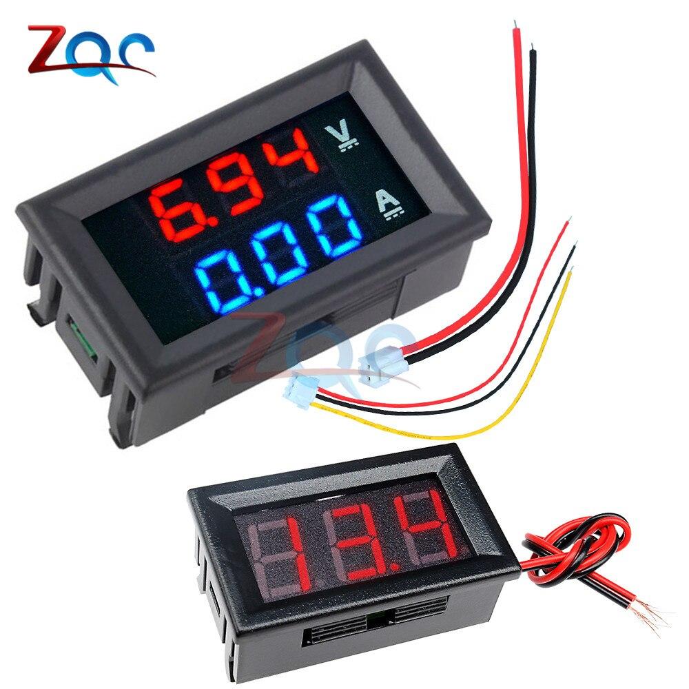 0,56 Zoll Mini Digital Voltmeter Amperemeter Dc 100 V 10a Panel Amp Volt Spannung Strom Meter Tester Blau Rot Dual Led-anzeige Das Ganze System StäRken Und StäRken