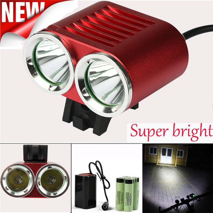 High Quality 2 x 6000 LM CREE T6 LED 4 x 18650 Battery Bicycle Cycling Light Waterproof Lam
