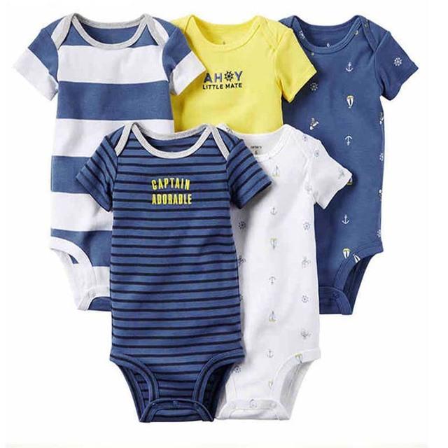 Niños bebes bebé niño ropa de Primavera Monos Recién Nacidos de Algodón Baby Body 5 unids conjunto de Manga Corta