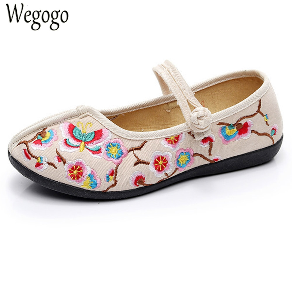 Chinese Women Shoes Flats Butterfly Embroidery Cotton Wedding Comfortable Old Peking Ballerina Shoes Woman Sapato Feminino a three dimensional embroidery of flowers trees and fruits chinese embroidery handmade art design book
