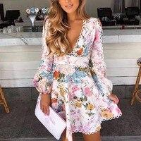 2019 Runway Women Elegant Boho Floral Print ladies Dress Long Sleeve Beach Flower Hollow Out Puff Sleeve Mini Dresses Vestidos
