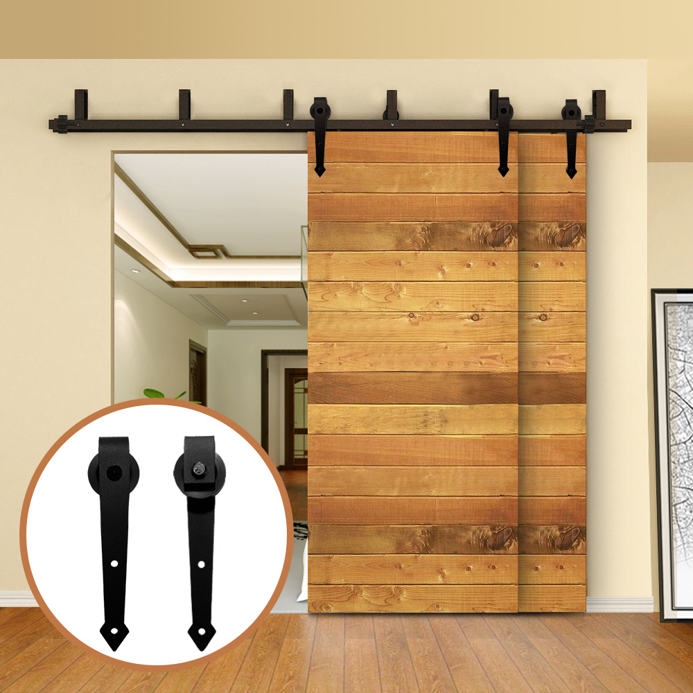 LWZH Rustic Wood Door Bypass Sliding Barn Door Hardware Kit Black Steel Arrow Shaped Track Rollers For Interior Double Door