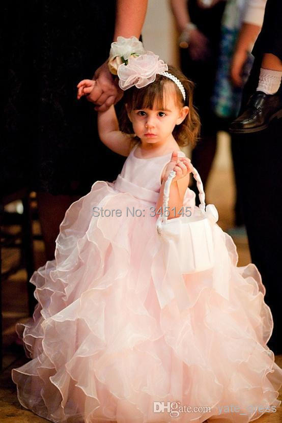 Fancy Design Hottest Selling New Ankle Length Ruffles Baby Pink Organza Cute Ball Gown Little Kids Lovely Flower Girl Dresses