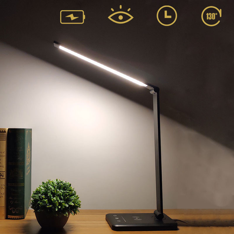 LED Dimmable lampe de Table pliable gradateur lampe de bureau avec contrôle tactile lumière de Protection des yeux USB Charge sans fil Charge fonction