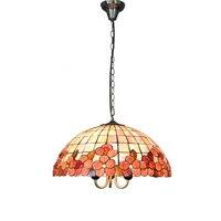 Vitral Tiffany mediterrâneo Flores Pingente Luzes E26/E27 Europeu Conchas Bar Restaurante Quarto Lâmpadas Penduradas PL614