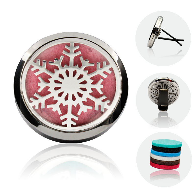 Drop Shipping Snowflake Design Silver Aromatherapy 38mm Car Diffuser Locket Silver Stainless Steel Car Diffuser Locket